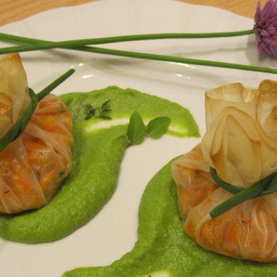 fagottini ripieni di carote al timo su crema di piselli_giuliagiunta_io scelgo veg