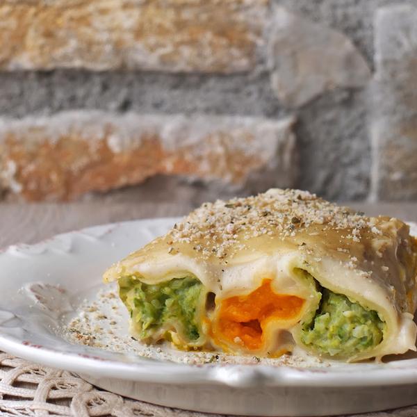 Cannelloni vegan alla zucca e cavoletti
