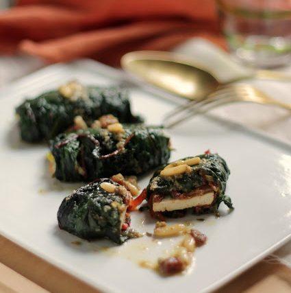 Involtini di tofu e bietacon salsa agrodolce