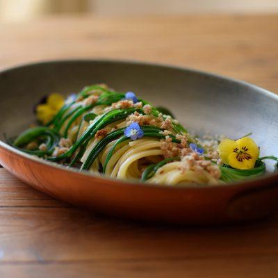 spaghetti aglio olio peperoncino agretti vegan_marco bortolon_io scelgo veg