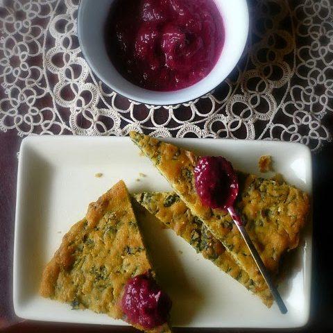 Farinata agli spinaci con finta maionese di foglie di rapa