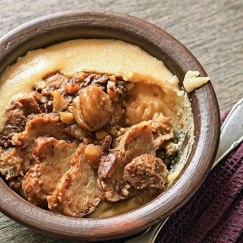 Seitan brasato alle castagne e porcini