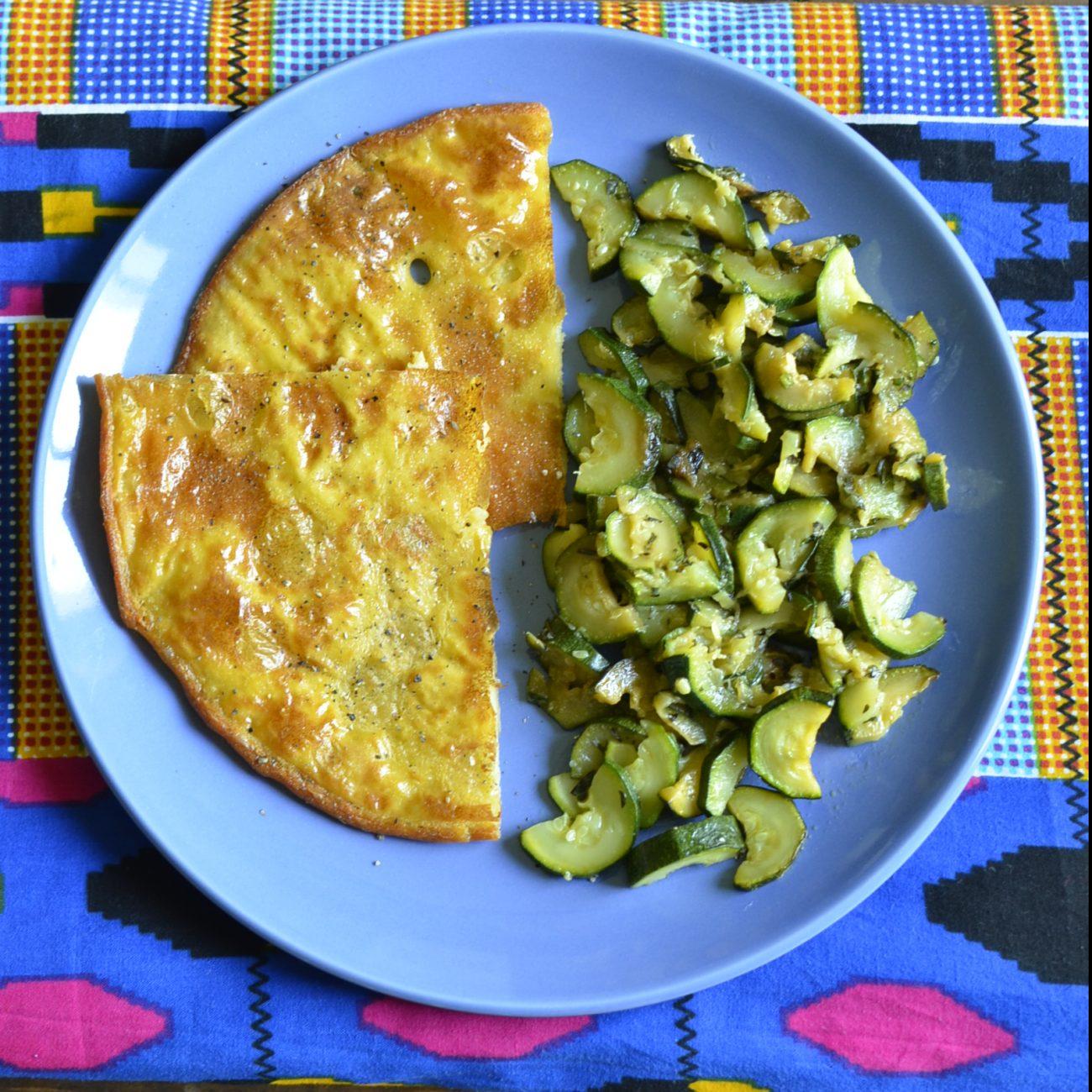 Cecina con zucchine trifolate