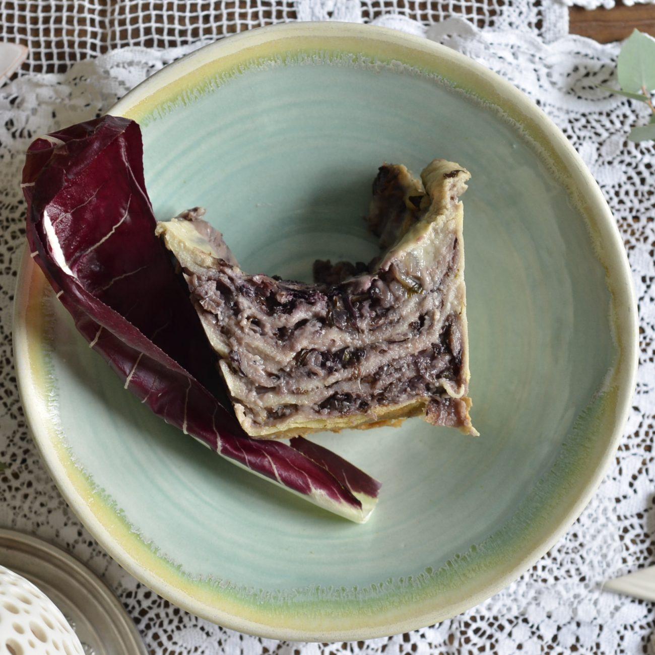 Lasagne di radicchio su pane carasau