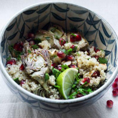insalata di quinoa con carciofi e melagrana vegan Marta Giaccone per Ioscelgoveg