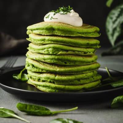 pancake vegan salati con farina di ceci e spinaci