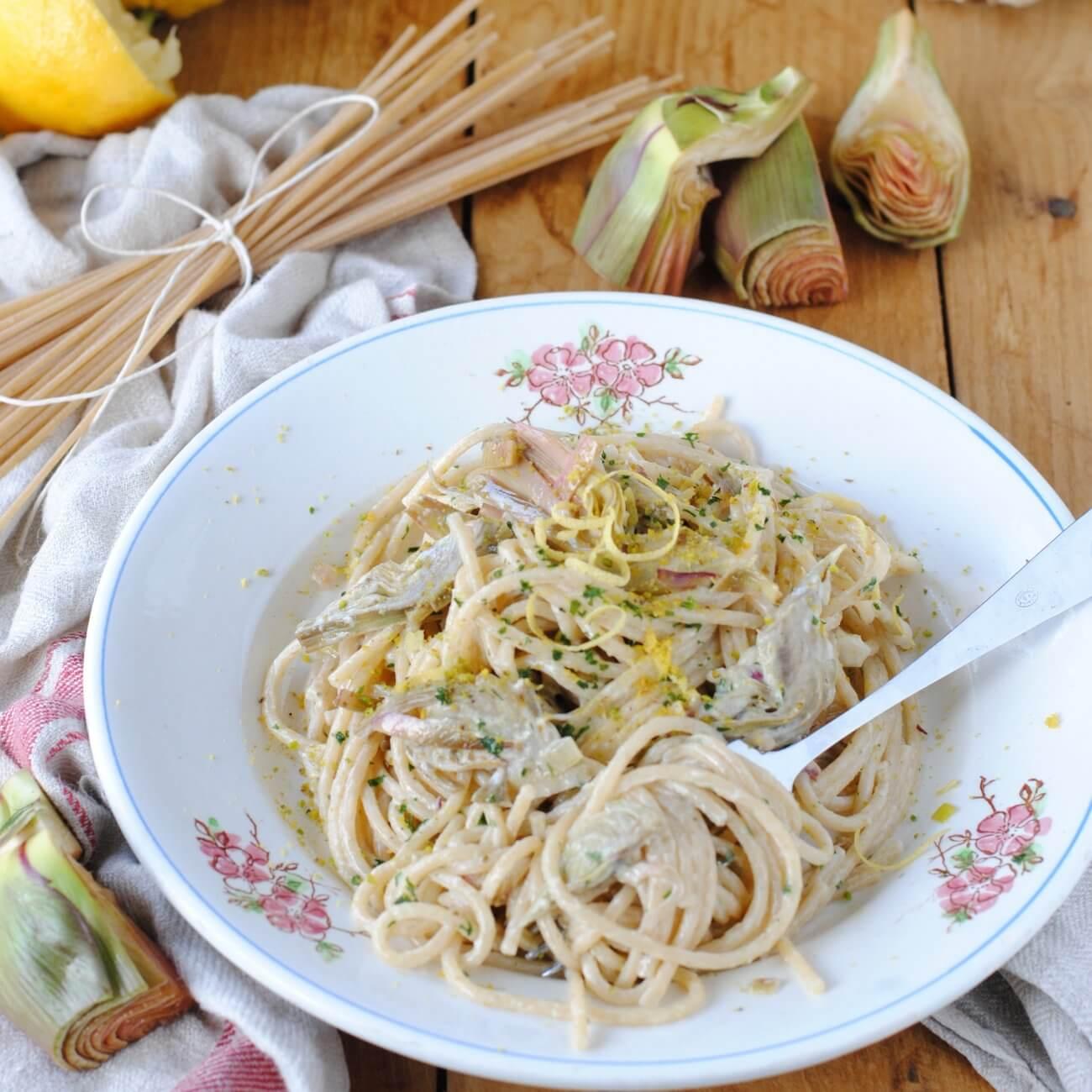 Spaghetti ai carciofi e limone