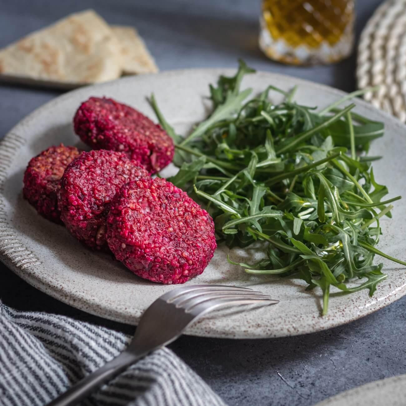 Polpette di quinoa, barbabietola e lenticchie